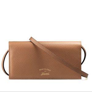 New Gucci Tan Crossbody Bag / Wallet / Clutch